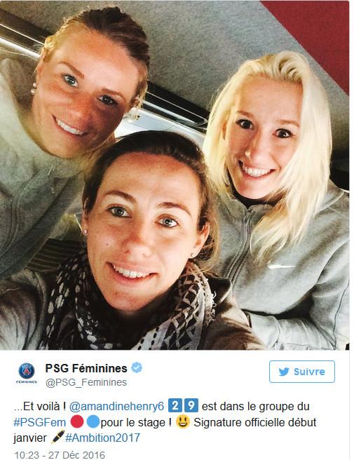 #D1F - Amandine HENRY en stage avec le PSG avant de signer début janvier