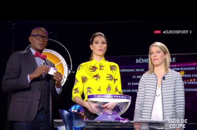 Olivier Giraud et Sabrina Viguier, avec Laurie Thilleman lors du tirage au sort (capture Eurosport 2)