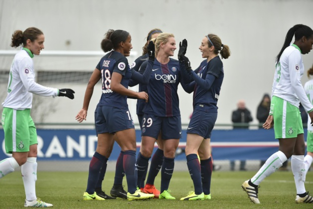 Joie parisienne sur le second but face à l'ASSE (photo PSG.fr)