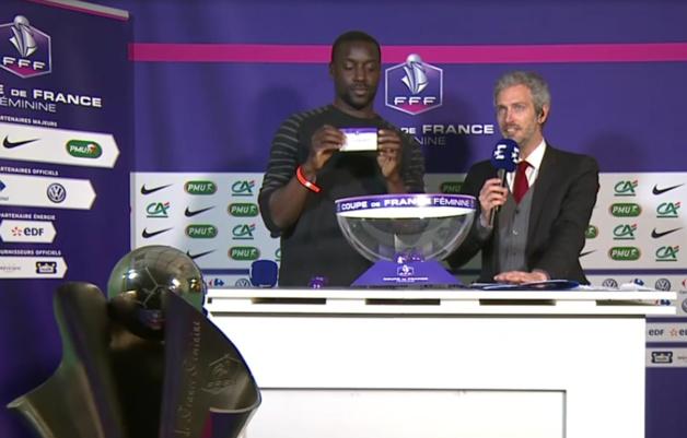 Ladji Doucouré avec Romain Balland lors du tirage au sort sur Eurosport 2