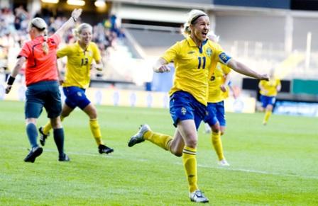 La joie de Victoria Svensson (photo : svenskfotboll)