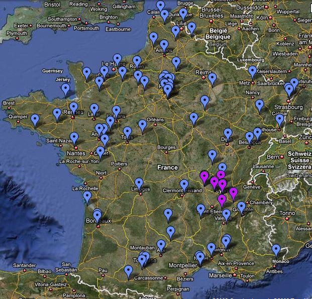 La carte des qualifiés (source : Google)