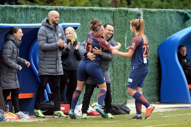 La joie après le but de Veje (photo MHSC)