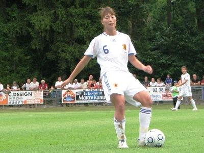 Rumi Utsugi lors du match amical face à la France, en août 2009 (photo : Sébastien Duret)