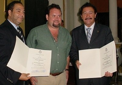 Au Nicaragua en juin 2009... Jean-Michel Bénézet (à droite) est la voix de la FIFA