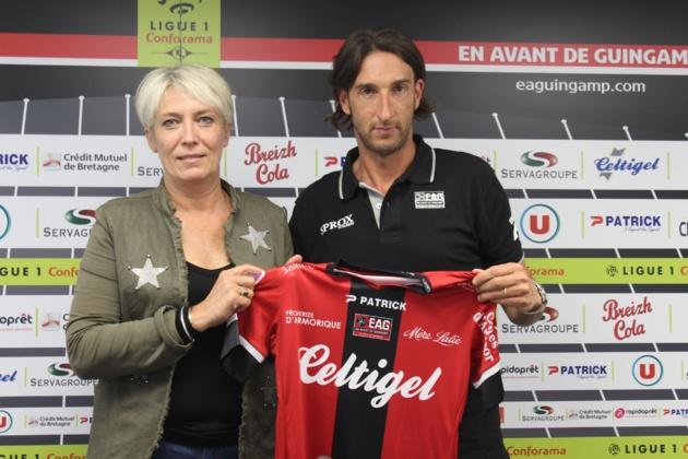 Frédéric Biancalani, ici avec la manager Marlène Bouëdec, a été présenté le 6 juin dernier (photo EAG)