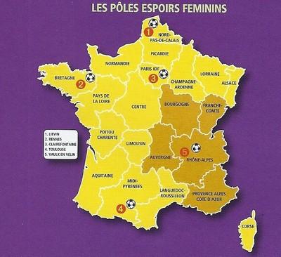 Carte des Pôles espoirs féminins en france