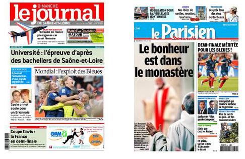 Les Unes du Journal de Saône et Loire et du Parisien illustrent le bon coup médiatique