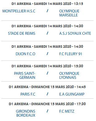#D1Arkema - Programmation de la 17e journée : PSG - OL maintenu au samedi, l'OL saisit le CNOSF