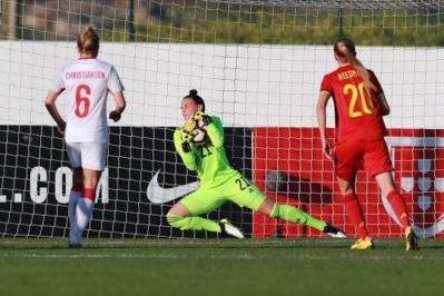 La gardienne belge a concédé 4 buts face au Danemark (photo FPF)