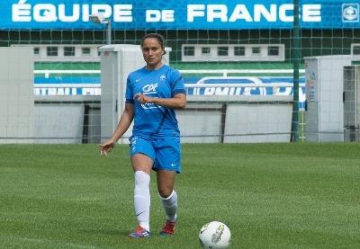 Ophélie Meilleroux avec les Bleues (photo Eric Baledent/LMP)