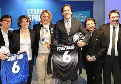 Sandrine Soubeyrand aux côtés de la Ministre, de sa présidente et Marinette Pichon (photo CG91)