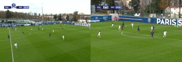 Le 4e but du PSG, avec le 5 contre 3 offert aux Parisiennes.