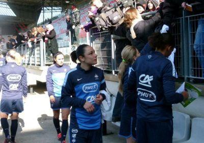Sandrine Brétigny retrouve les Bleues au stade Marcel Picot (photo LLF)