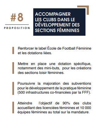 Des propositions sur le développement des sections féminines dans le programme de Noël Le Graët