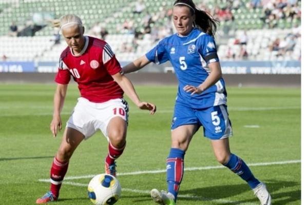 Pernille Harder, ici lors du succès face à l'Islande (2-0) sera à l'Euro (photo DBU)