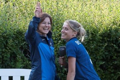 Laure Boulleau en tournage avec Candice Prévost, pour Eurosport (photo Eric Baledent)