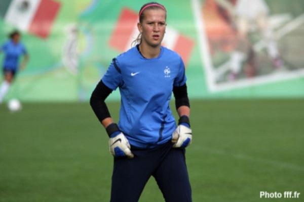 Claire Jacob sous le maillot de l'équipe de France, sélection qui lui tient tant à coeur et dans laquelle elle a envie de se faire une place au fil du temps (Photo : FFF).