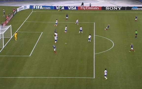 Faustine Robert en bas de l'action n'était pas hors-jeu au départ du ballon sur le but refusé à la 119e (capture image FIFA)