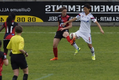 Saki Kumagai et l'OL terminent par un succès trois buts à zéro (photo Sébastien Duret)