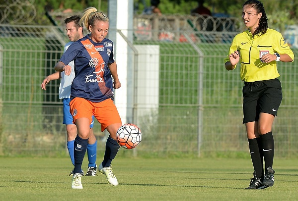 Marion Torrent et Montpellier étaient opposés à une équipe masculine en préparation (photo MHSC)