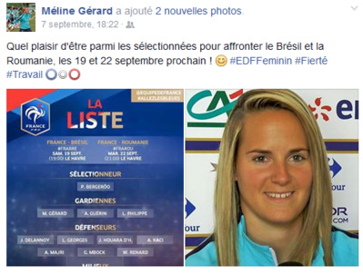 La joie de Méline lors de sa convocation sur sa page facebook