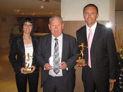 Karine Vives Solana, lors de la cérémonie avec Just Fontaine et Stéphane Lannoy