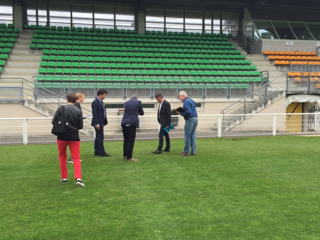 Visite du stade de Saint-Malo il y a une dizaine de jours (photo Ligue de Bretagne)