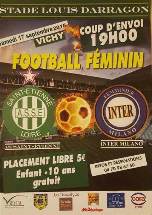 #D1F - Amical : L'AS SAINT-ETIENNE face à l'INTER MILAN, samedi à Vichy