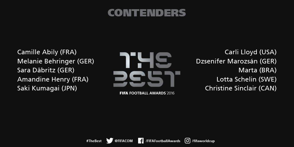 FIFA - Meilleure joueuse 2016 : ABILY et HENRY dans le top 10 des nommées