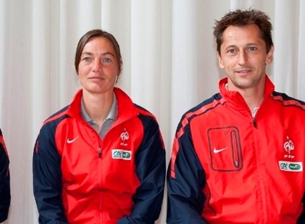 Corinne Diacre avec Philippe Joly lors de leur précédent activité avec les Bleues