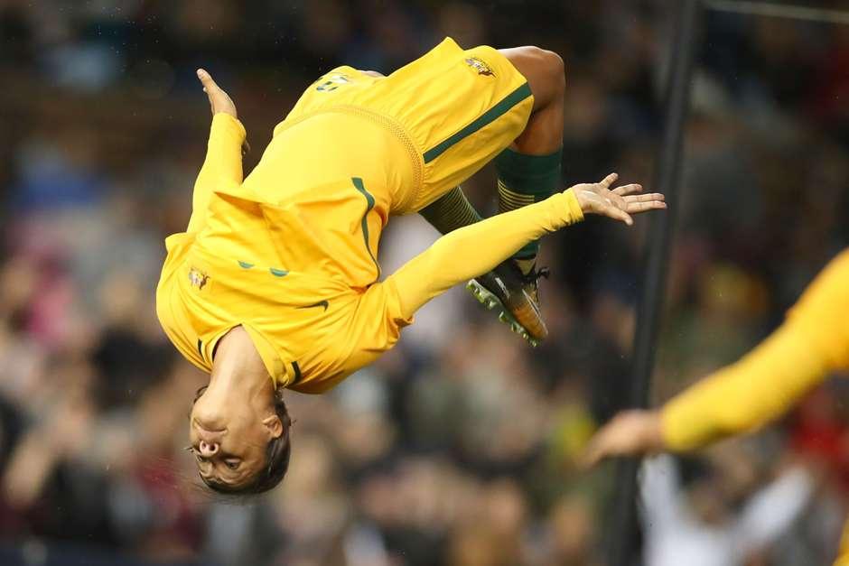 Samantha Kerr, auteure de trois buts en deux matchs face au Brésil (photo FFA)