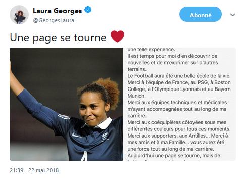 Laura GEORGES arrête sa carrière de joueuse