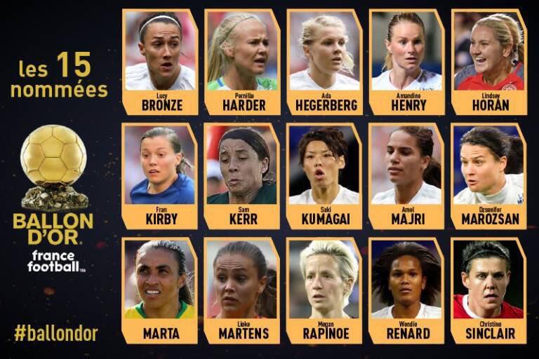 Ballon d'Or® féminin - La liste des nommées : trois Françaises, sept de l'OL