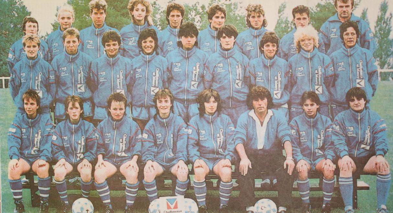 Ghislaine Baron, avec l'équipe de Chaffoteaux, championne de France 1989