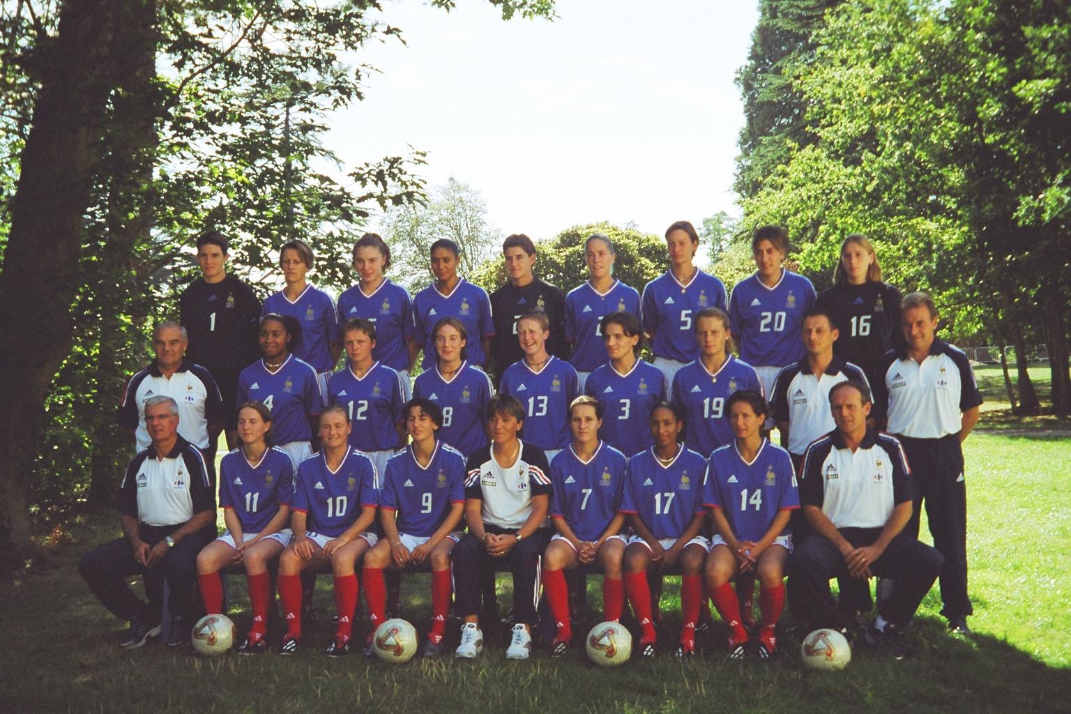 Les Bleues lors de la photo officielle le 5 septembre 2003 (photo : Sébastien Duret)