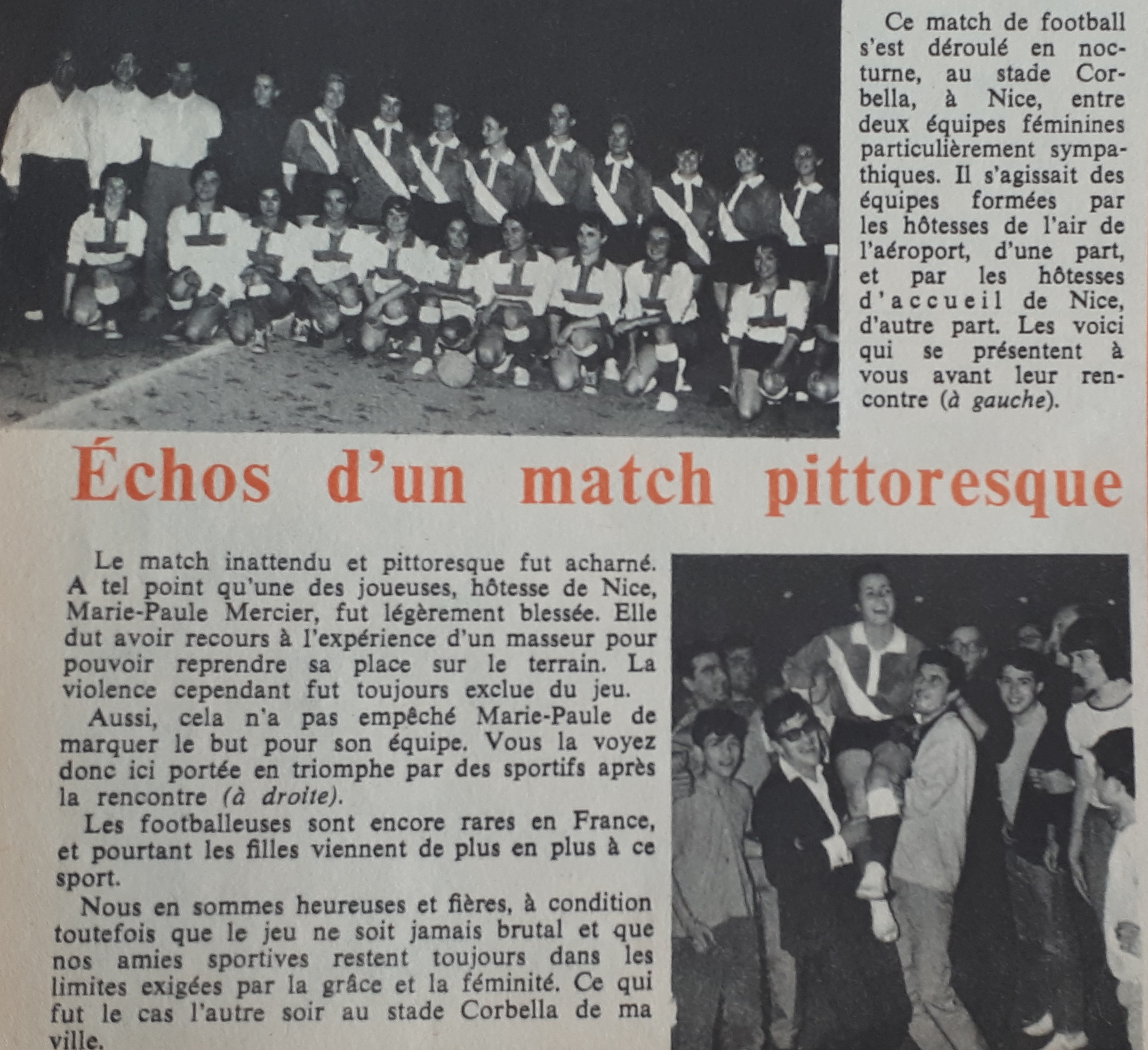 Août 1964, un magazine féminin fait l'écho d'une rencontre féminine à Nice