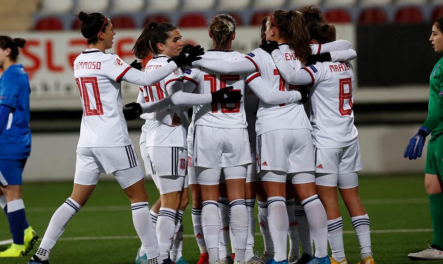 Avec deux quintuplés de Esther et Hermoso, l'Espagne a gagné la plus large victoire de son histoire (photo RFEF)