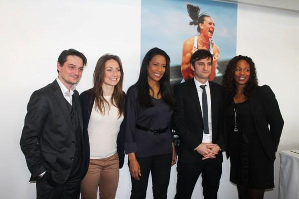 Jérôme Papin (en charge du contenu éditorial à Eurosport), Gaëtane Thiney (joueuse de Juvisy), Christine Kelly (membre du CSA), Arnaud Simon (directeur général d'Eurosport) et Laura Flessel (médaille d'or olympique en escrime)