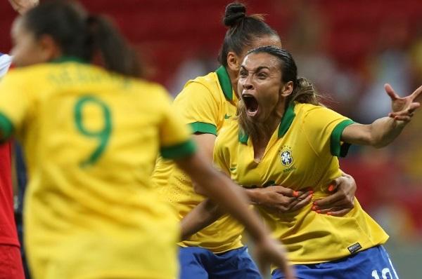 Marta réussit le hat-trick face aux USA (photo CBF)