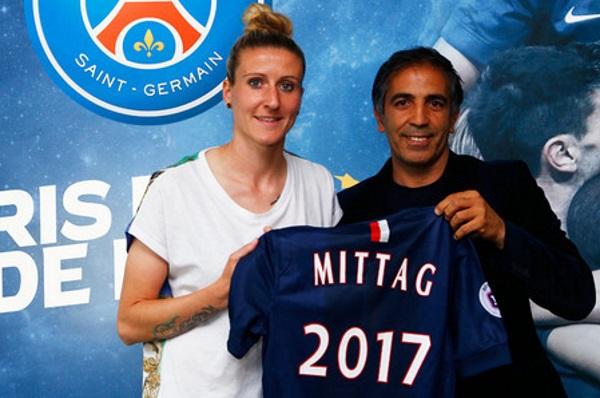 Anja Mittag avec son nouvel entraîneur (photo PSG)