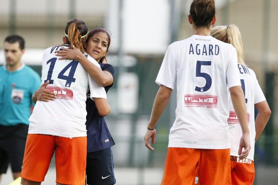 Shirley Cruz congratule Virginia Torrecilla mais la déception est bien là (photo PSG.fr)