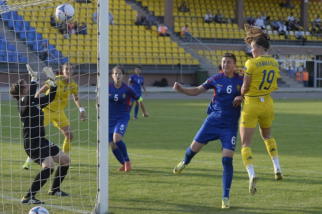 Le troisième but suédois face à la Moldavie (photo SVF)