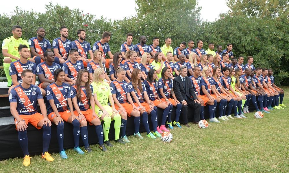 Photos officielles, mardi dernier à Montpellier, avec une photo commune entre les pro masculins et les féminines (photo MHSC)