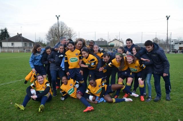 Les joueuses de Poissy après leur qualification face à Parisis (photo AS Poissy)