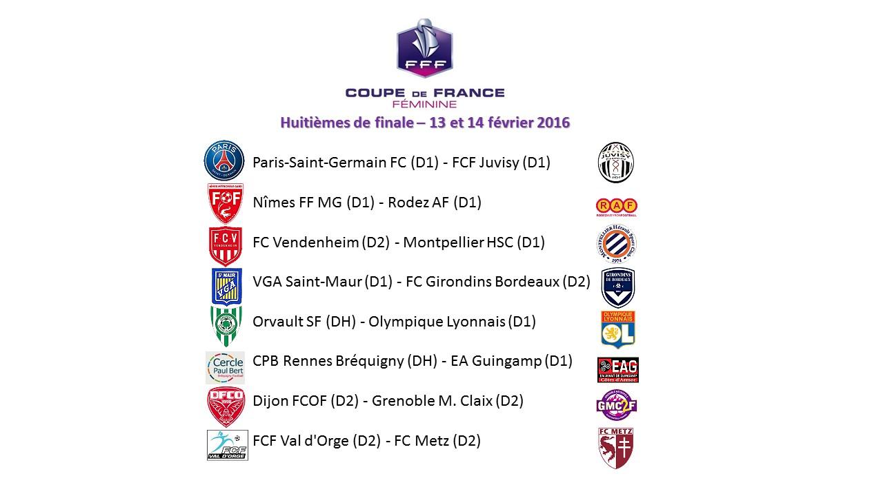 Coupe de France - Le programme des huitièmes : ORVAULT - LYON pour débuter ce samedi