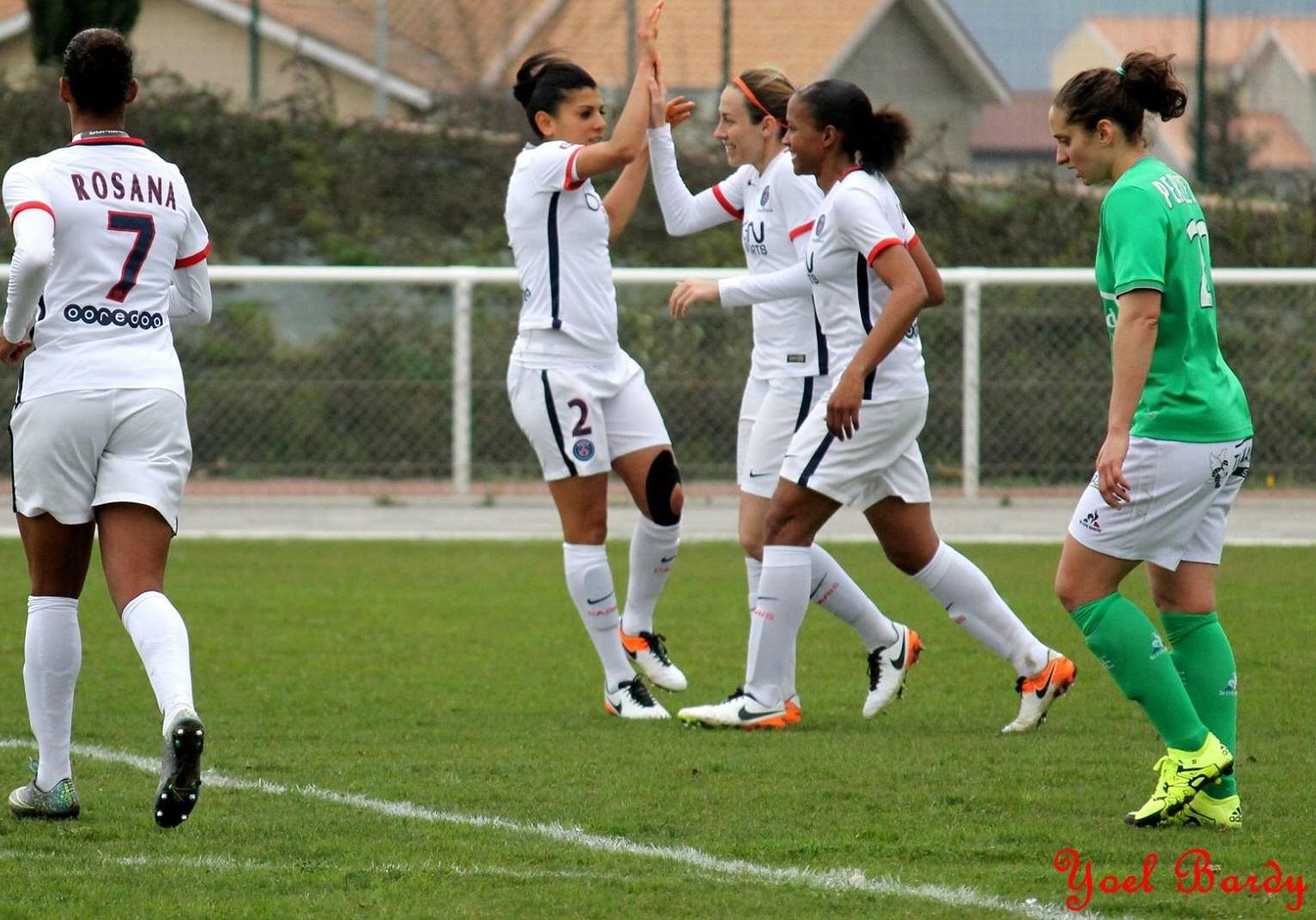 Dali, Delannoy et Delie, les trois buteuses de la rencontre (photo Yoël bardy/ASSE Féminines)
