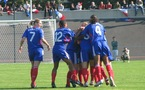 La joie tricolore après l'ouverture du score de Soubeyrand (photo : S. Duret)
