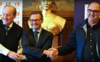 Les trois signataires du RC Lens et d'Arras (photo RCL)