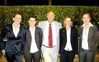 Les arbitres, Gosselin, Bartnik, Guillemin et Nicolosi, lors de France - Japon accompagnées par Antoine De Pandis (photo : Patrick Blond)